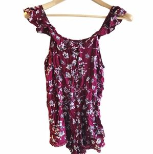 Red floral print romper, size SM